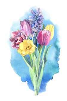 Piękny bukiet wiosennych kwiatów - tulipanów i hiacyntu. akwarela ilustracja.