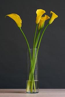 Piękny bukiet żółtych kwiatów kalii w wazonie.