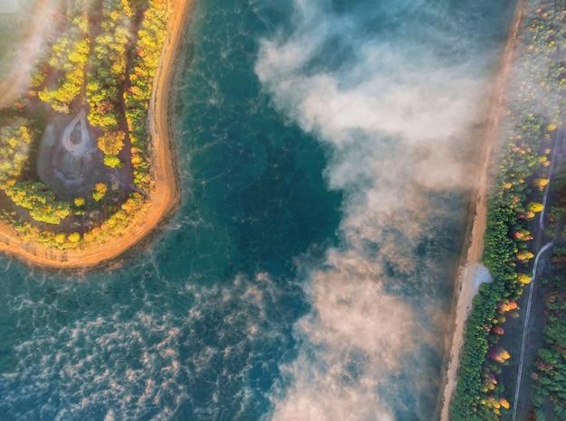 Piękny dramatyczny stubarwny jesień krajobraz jezioro w lesie
