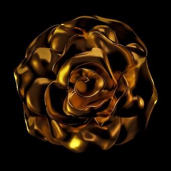 Piękny element, złoto, róża, sztukaterie, ornament, rama. renderowanie 3d.