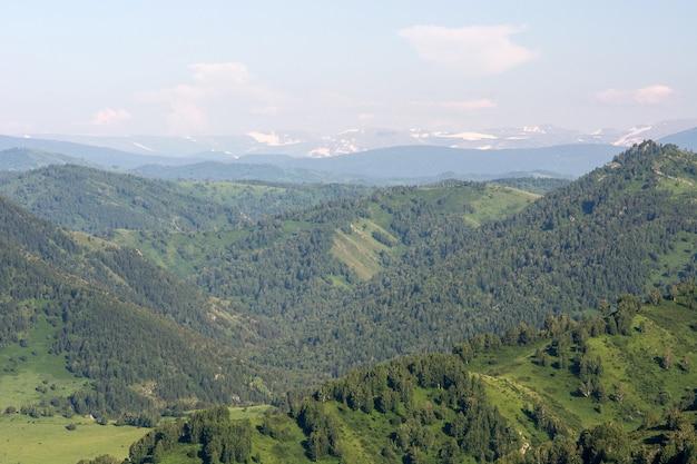 Piękny górski zielony krajobraz z dużymi wzgórzami i śnieżnymi górami na tle. błękitne niebo nad zielenią. cisza i spokój.