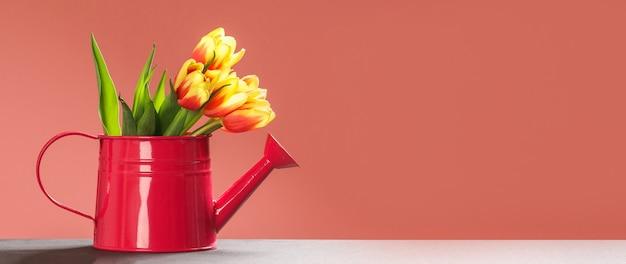 Piękny i kolorowy bukiet tulipanów