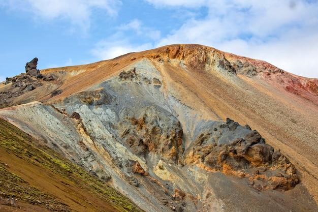 Piękny i kolorowy krajobraz górski w landmannalaugar. podróże i malownicze miejsca do wędrówek.