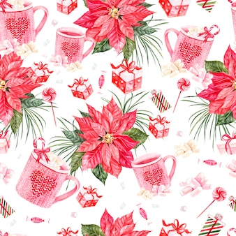 Piękny jasny wzór akwarela nowy rok z świątecznym kwiatem i prezentami ilustracja