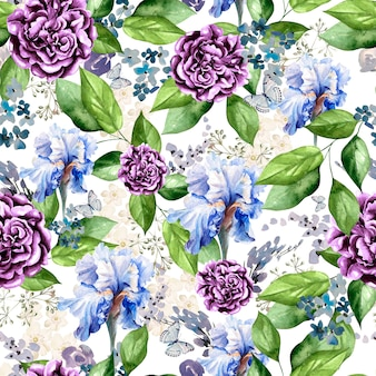 Piękny jasny wzór akwarela z kwiatami irysa, piwonii i lawendy. ilustracja