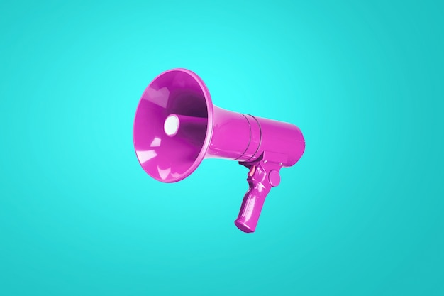 Piękny kolorowy różowy megafon na zimnej niebieskiej ścianie. połączenie uzupełniających się kolorów. koncepcja reklamy i wiadomości