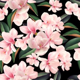 Piękny kolorowy wzór w kwiaty i liście magnolii