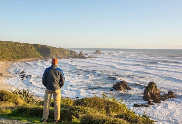 Piękny krajobraz ocean beach w nowej zelandii.