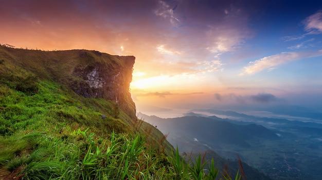 Piękny krajobraz phu chi fa o wschodzie słońca. park narodowy phu chi fa w prowincji chiang rai w tajlandii.