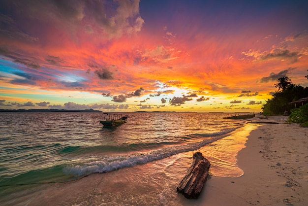 Piękny krajobraz plaży o wschodzie słońca