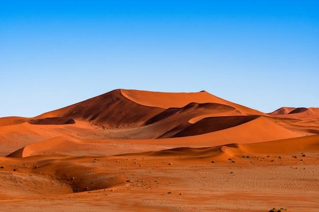 Piękny krajobraz pomarańczowej piasek diuny pomarańczowy piasek przy namib pustynią w namib-naukluft parku narodowym sossusvlei w namibia.