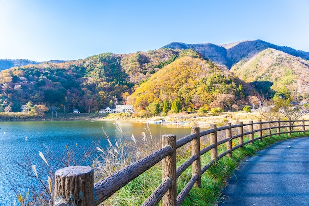 Piękny krajobraz wokół jeziora kawaguchiko