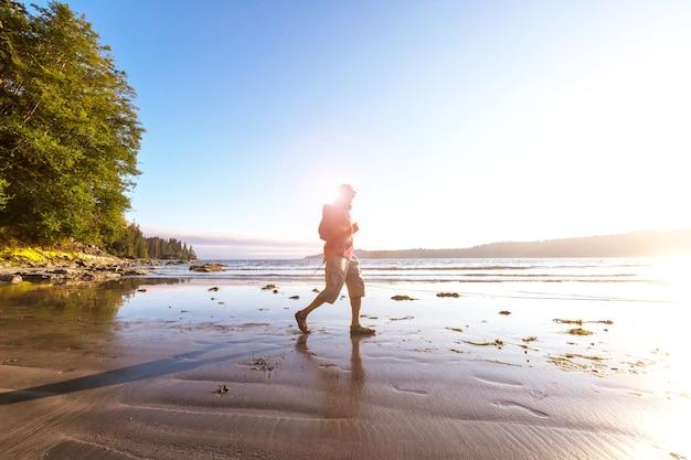 Piękny krajobraz wzdłuż wybrzeża pacyfiku w kolumbii brytyjskiej w kanadzie, ze skalistym wybrzeżem.