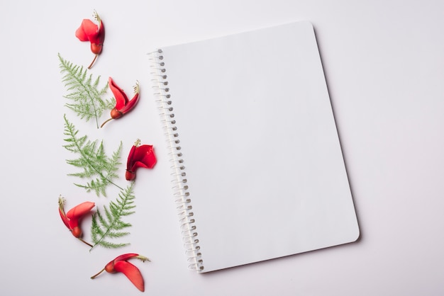 Piękny kwiat koncepcja z notebooka