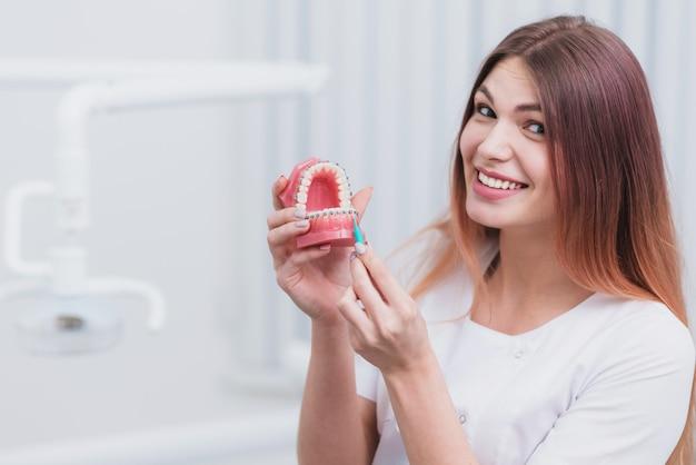 Piękny lekarz ortodonta pokazuje, jak dbać o zęby