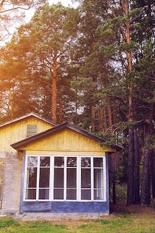 Piękny letni dom z dużymi oknami. stary parterowy budynek w lesie z popękaną farbą. przyciemniane zdjęcie.