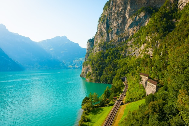 Piękny letni krajobraz z jasnym górskim jeziorem.
