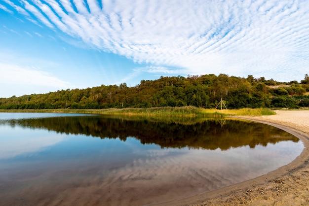 Piękny letni krajobraz z leśnym jeziorem i odbiciem wody