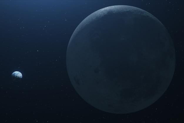 Piękny lot w kosmos na ziemię z księżyca