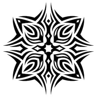 Piękny monochromatyczny tatuaż wektor ilustracja z abstrakcyjnym czarnym wzorem plemiennym na białym tle