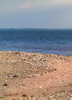 Piękny nadmorski widok na słone morze i wybrzeże latem
