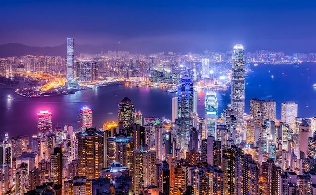 Piękny nocny widok hongkongu