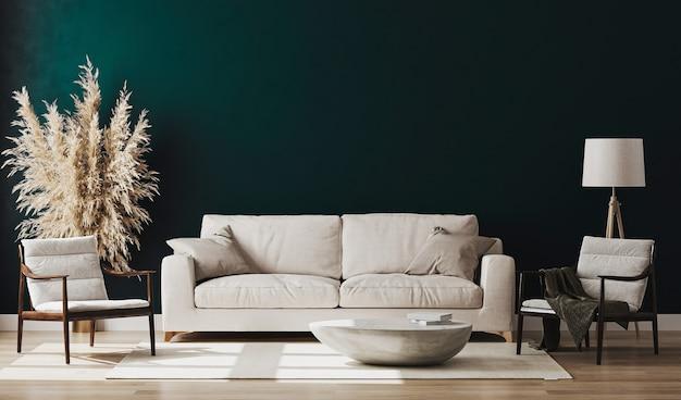 Piękny, nowoczesny pokój z wygodną sofą