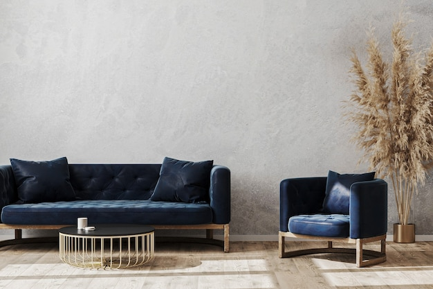 Piękny, nowoczesny pokój z wygodnym fotelem i sofą