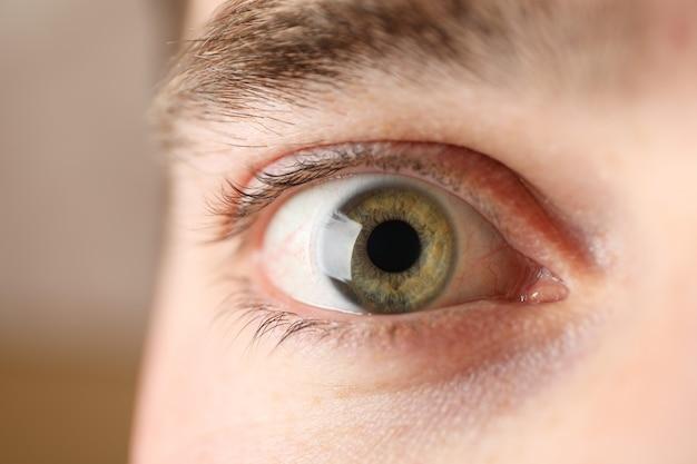 Piękny obsługuje zielonego oko, zbliżenie. makro pojęcie opieki zdrowotnej i medycznej