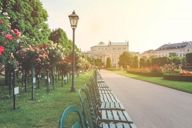 Piękny ogród z kolorowymi różami w wiedniu
