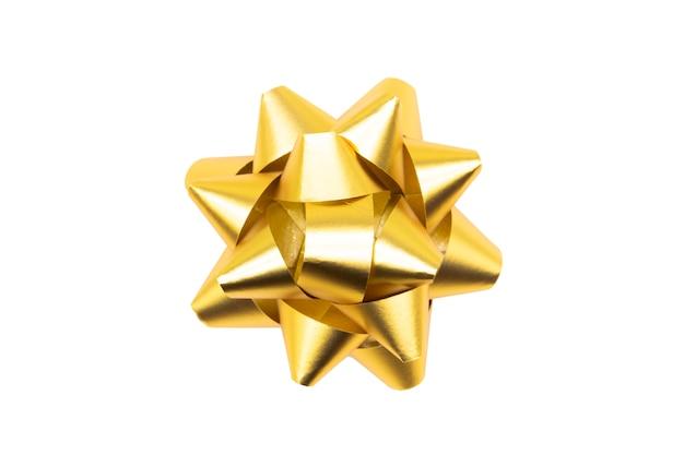 Piękny prezent z kokardą. złota wstążka.