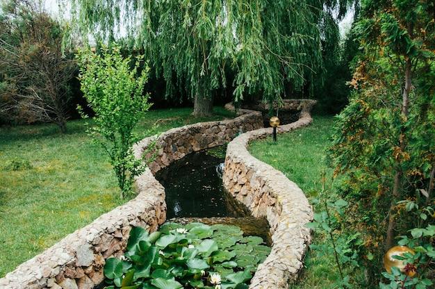 Piękny projekt krajobrazu ogrodowego, staw z liliami wodnymi, różami