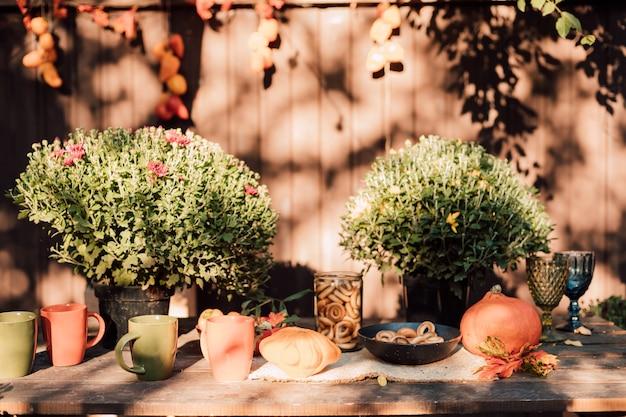Piękny przytulny dziedziniec z jesiennymi kwiatami, warzywami i dyniami
