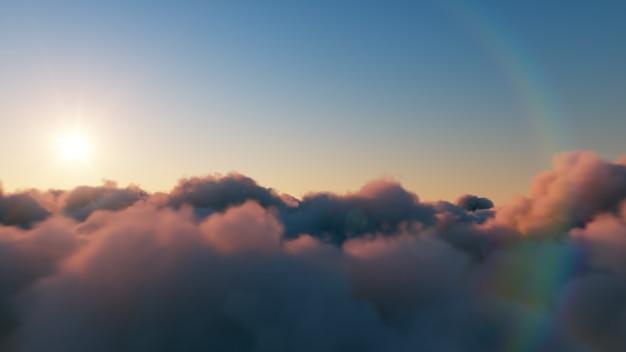 Piękny realistyczny lot nad chmurami cumulus
