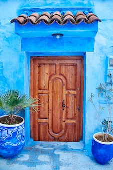 Piękny różnorodny set błękitni drzwi błękitny miasto
