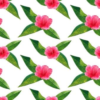 Piękny różowy czerwony kwiat hibiskusa z zielonymi liśćmi tropikalnymi. wzór. ręcznie rysowane akwarela ilustracja.
