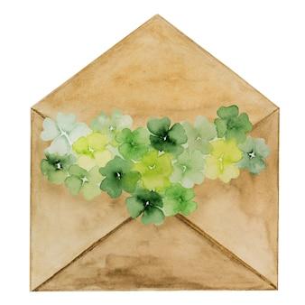 Piękny rysunek akwareli koperty pocztowej we wzór koniczyny. zbliżenie, brak ludzi, tekstura. gratulacje dla bliskich, krewnych, przyjaciół i współpracowników
