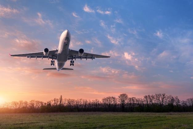 Piękny samolot. krajobraz z dużym białym samolotem pasażerskim leci w błękitne niebo z chmurami nad polem zielonej trawy w lecie.