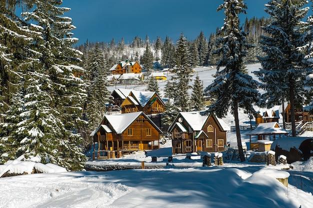 Piękny słoneczny zimowy krajobraz w górach karpat