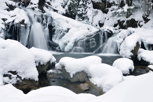 Piękny śnieżny wodospad płynący w górach. zimowy krajobraz. pokryte śniegiem drzewa