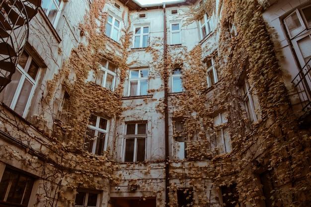 Piękny stary dom w jesień liściach