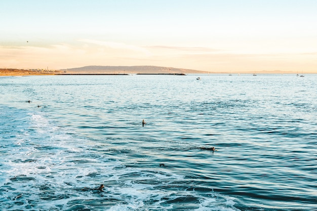 Piękny strzał fal morskich z niesamowitymi teksturami wody w słoneczny dzień na plaży