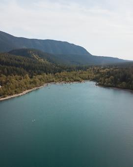 Piękny strzał jezioro między zielonymi drzewami strzelał od above