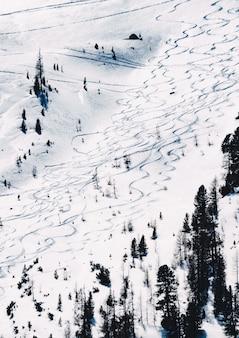 Piękny strzał na zaśnieżonym stoku do jazdy na nartach