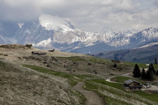 Piękny strzał seiser alm wysokogórska łąka w włochy podczas wczesnej wiosny