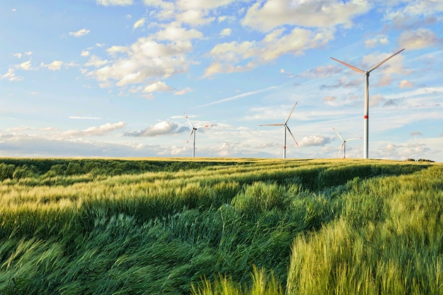 Piękny strzał silniki wiatrowi pod chmurnym niebem w eiffel regionie, niemcy