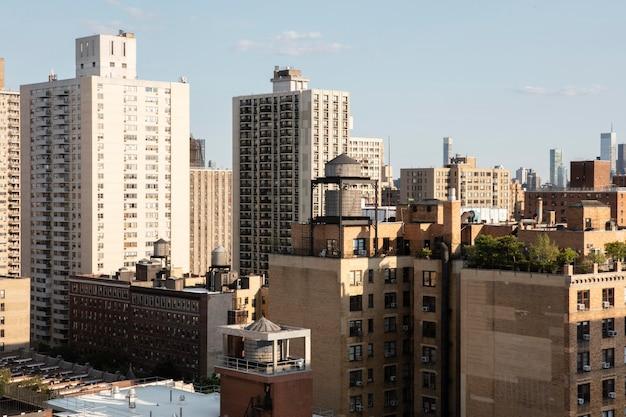 Piękny widok na budynki miasta?