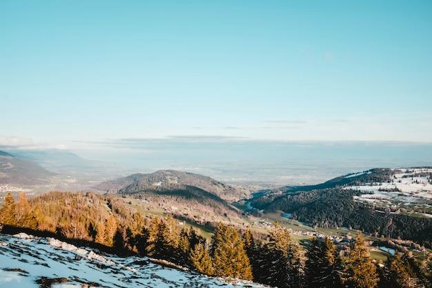 Piękny widok na drzewa na wzgórzu pokryte śniegiem z polami