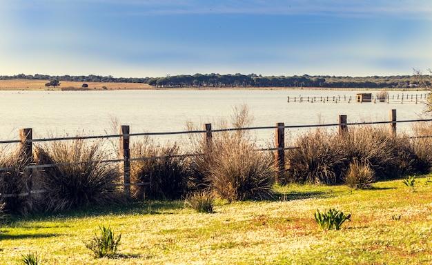 Piękny widok na łąkę ogrodzoną drewnianymi słupami i drutem kolczastym