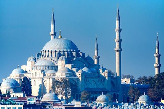Piękny widok na meczet sulejmana wspaniałego w stambule, turcja.